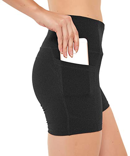 """N-A Women's Running Shorts High Waist Yoga Workout Compression Exercise Shorts Side Pockets 8"""" L Charcoal Gray"""