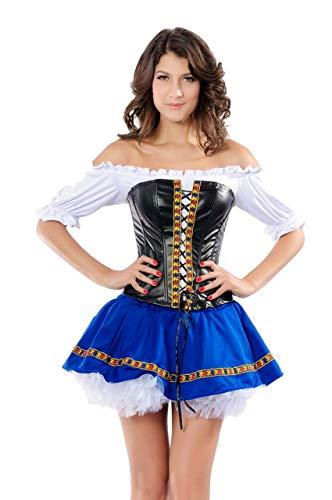 Fancy Me Damen Sexy Deutsch Schwedisch Beer Maiden Oktoberfest Mädchen Kostüm - Blau, Blau, 10