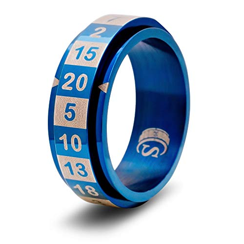 CritSuccess d20 Dice Ring with 20 Sided Die Spinner (Size 12.5 - Stainless Steel - Blue)