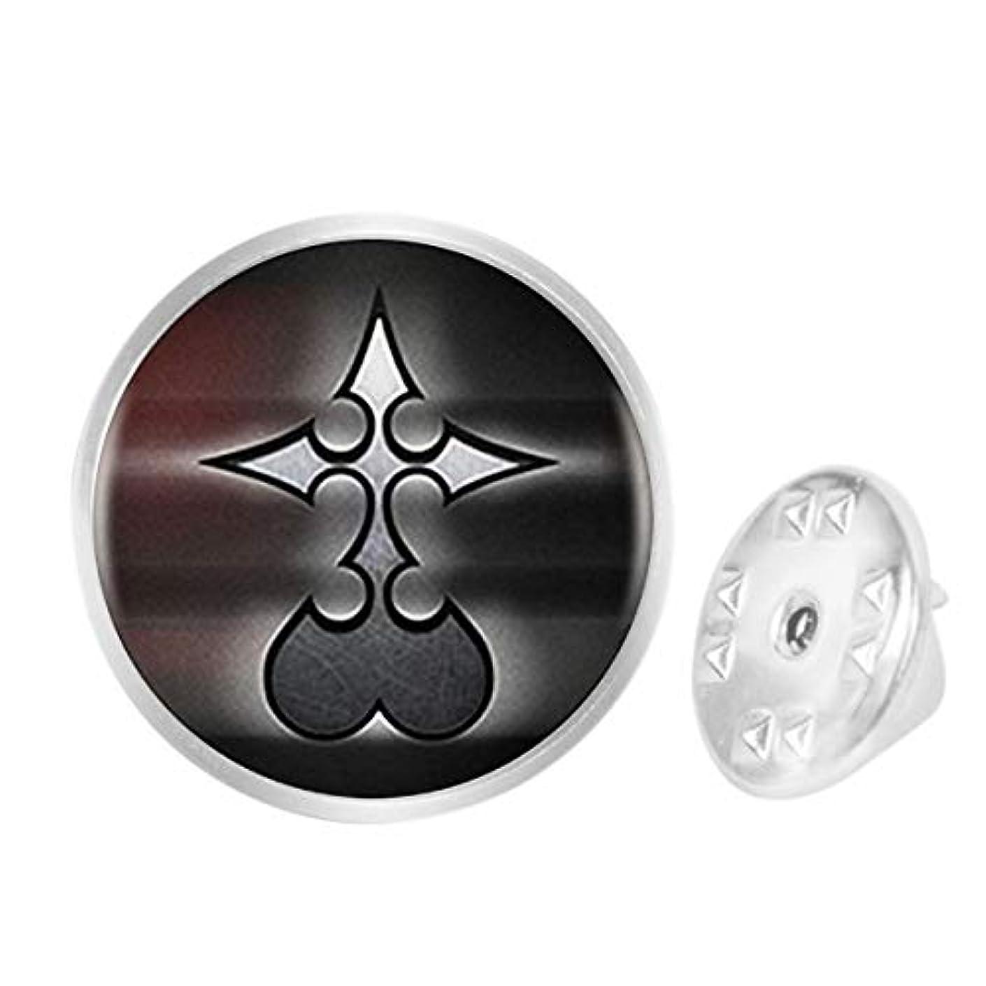 WAZZIT Round Metal Tie Tack Hat Lapel Pin Brooches Kingdom Hearts Nobody Logo Banquet Badge Enamel Pins Trendy Accessory Jacket T-Shirt