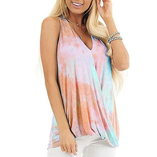 Damen Weste Sommer Tie Dye Printing Fashion T-Shirt