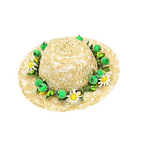 Delifur Dog Straw Sombrero Hat Pet Sun Cap with Flowers Birthday Party Hat for Small Puppy Cat (M, Green Daisy)