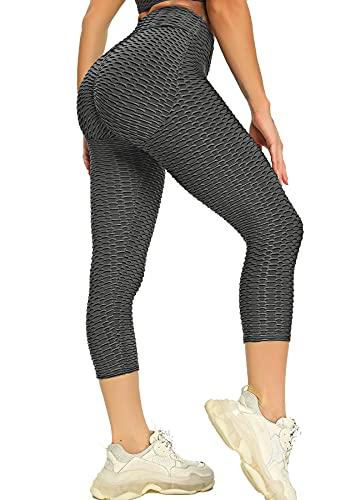 Hoppole Leggings capri para mujer, de corte ajustado, cintura alta, con control de abdomen, opacos, push up, pantalones de yoga, de Honeycomb Nuevo. : gris oscuro S