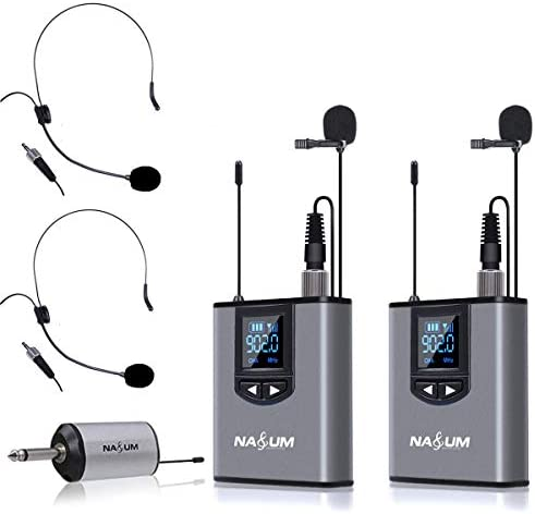 Wireless Lapel Microphone System NASUM Dual Wireless Headset Lavalier Mic for iPhone DSLR Camera product image
