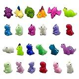QINGQIU 24 PCS Dinosaur Kawaii Squishies Mochi Squishy Toy Stress Relief Fidget Toys Pack for Kids Boys Girls Party Favors Birthday Gifts