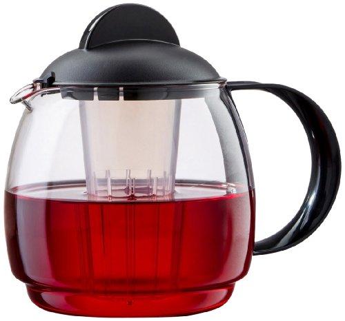Boral 45181 Mikrowellen-Glaskanne 1,8 Liter mit Teefilter-Einsatz, schwarz