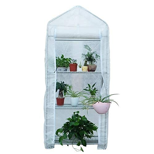 LIXHZJ Greenhouse, 3 Tier PE Grid Cloth Stainless Steel Frame Antifreeze Rainproof Mini Greenhouse, Portable Easy To Assemble Plant Flower Stand for Balcony Deck Garden*Product No.:WW-20