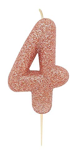 CROSSWEAR AHC50/4_SML Rose Gold Glitter Moulded Number 4 Pick Candle-1 Pc