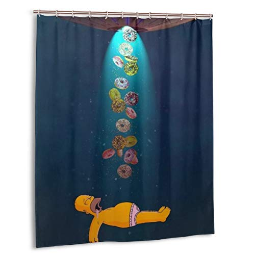 Cartoon Simpsons Duschvorhang 152,4 x 182,9 cm, wasserabweisender Duschvorhang mit Haken, Polyester, exquisiter Druck, waschbar
