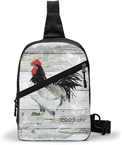 Farmhouse Rooster Sling Bag,Crossbody Shoulder Chest Outdoor Hiking Travel Personal Pocket Bag for Women Men Water Resistance