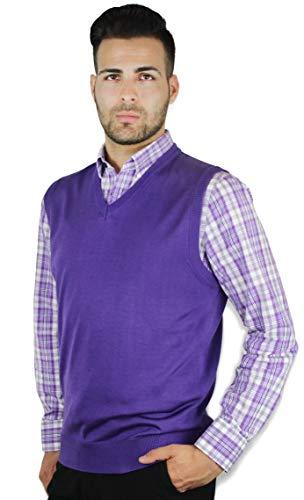 Blue Ocean Solid Color Sweater Vest Purple XXX-Large