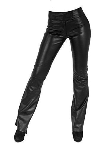 Unbekannt Kathrin 2' Damen Lederhose aus echtem Lamm Nappa Leder (Schwarz, M)