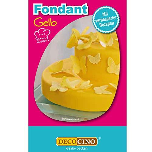 DECOCINO Fondant Gelb – 250 g – ideal zum Verzieren von Kuchen, Torten, Cupcakes – Palmölfrei & vegan