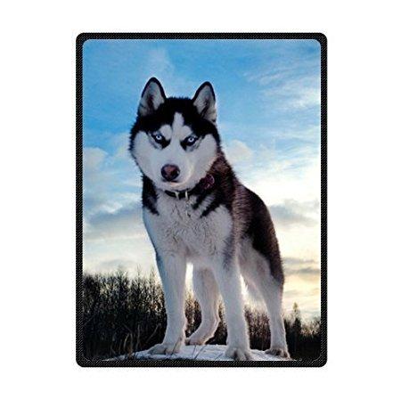 YISUMEI Decke 150x200 cm Kuscheldecken Sanft Flanell Weich Fleecedecke Bettüberwurf weiße Schwarze heisere Husky Hunde