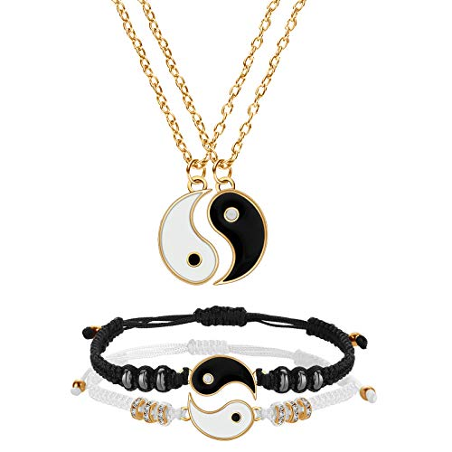 Yin Yang Friend or Couple Bracelet with Necklace Set, 2 Pieces Matching Yin Yang Adjustable Cord Bracelet, 2 Pieces Yin Yang Couple Pendant Necklace Chain for Friendship Boyfriend Girlfriend (Gold)