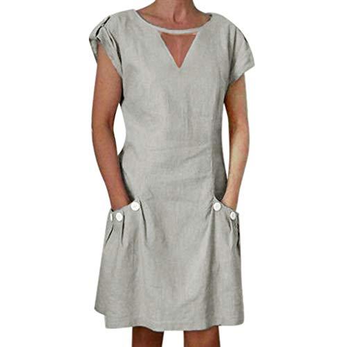 Weant Damen Kleider Sommer Leinen Cut Out V-Ausschnitt Mini Kleid Sommerkleid Bohemian Minikleid Strandkleid Freizeitkleider Frauen Elegant Abendkleid Party Kleid Hochzeitskleid Cocktailkleid