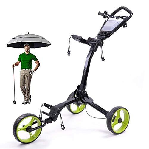 Carro de empuje manual de 3 ruedas Carro de golf plegable ligero Desmontaje con un clic con portavasos Tablero de puntuación