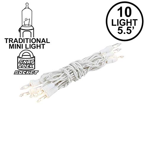 Novelty Lights 10 Light Clear Christmas Craft Mini Light Set, Non-Connectable, White Wire, 4' Long