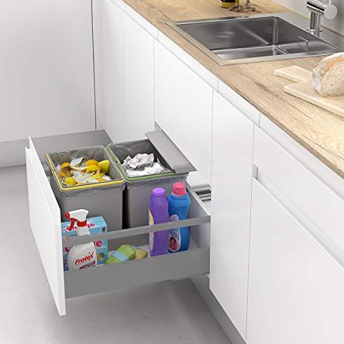 Cubos de Basura y Reciclaje con Tapa automática para cajón de Cocina   16L + 16L