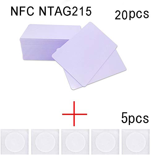 NFC/Ntag 215 Card 20pcs +5pcs NFC Stickers Used as Amiibo Game Cards Comply with 13.56mhz Frequency and Compatible with All NFC Mobile Phone (20+5)