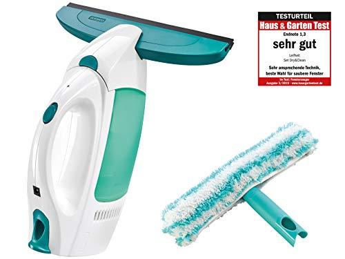 Leifheit Zestaw do czyszczenia okien Dry and Clean z myjką do czyszczenia 360° bez smug, do 35 min, myjka do okien z automatycznym systemem czuwania i systemem zatrzaskowym