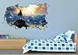 Tatuajes de Pared 40x60 cm,Zelda Ver paisaje,3D Pegatinas,Vinilo extraíbles Dormitorio, Sala de Estar, habitación de los niños Decorativas.
