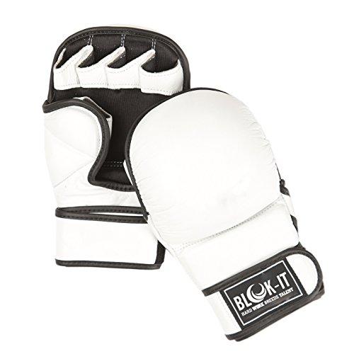 Blok-iT Guanti MMA Maggiore Protezione in Allenamento, Sparring e Grappling – Guanti Imbottiti con Palmo Aperto per Mixed Martial Art. (Bianca, X-Grande)