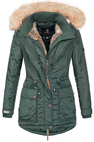 Marikoo Damen Winterjacke Kapuze Kunstfell Winter Jacke warm lang B617 [B617-Grinse-Grün-Gr.S]