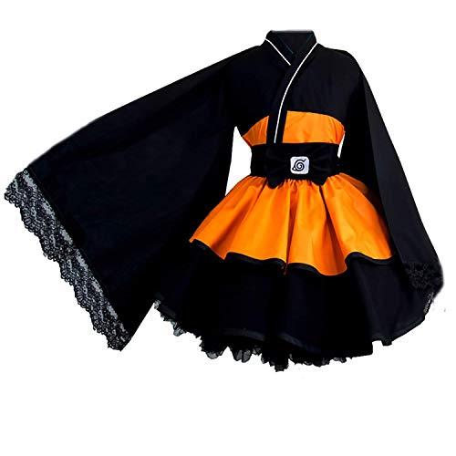 Instalación Anime japonés Naruto disfraz Uzumaki Naruto mujeres Lolita vestidos novedad Cosplay kimono vestido para mujer niña