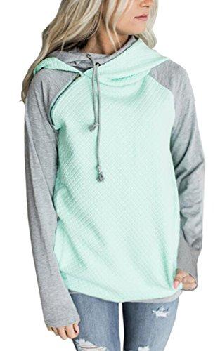 ECOWISH Damen Kontrastfarbe Pulli Pullover Rollkragen Sweatshirt Kapuzenpulli Top Hoodies Grün XXL