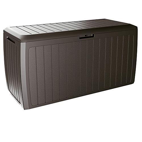 Deuba Auflagenbox Board Plus Rollen Griffe 100 kg belastbar Smart Click System Truhe Gartenbox Kissenbox Braun