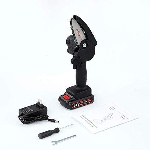 KKTECT Mini motosierra Motosierra eléctrica inalámbrica de 4 pulgadas Sierra eléctrica de mano portátil para cortador de madera de rama de árbol (motosierra roja de 24 V)