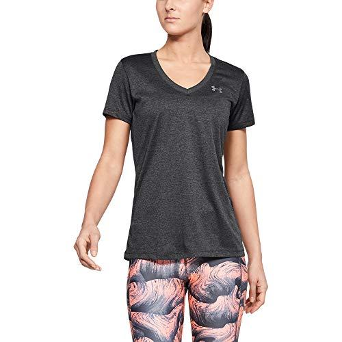 Under Armour womens Tech V-Neck Short Sleeve T-Shirt, Carbon Heather (090)/Metallic Silver, Medium
