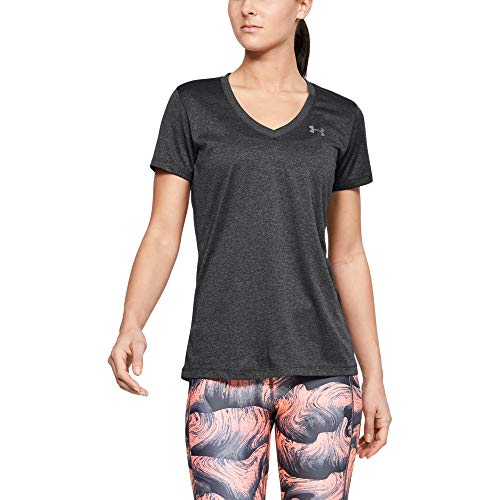 Under Armour womens Tech V-Neck Short Sleeve T-Shirt, Carbon Heather (090)/Metallic Silver, Medium