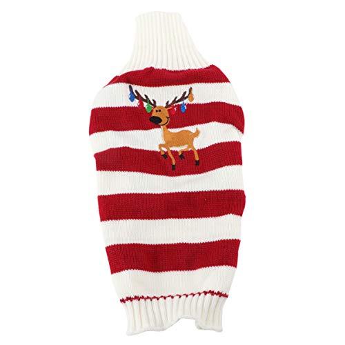 Hemobllo - Jersey de Navidad para perro, diseño navideño de renos, vacaciones, cachorros, gato, talla S, color rojo