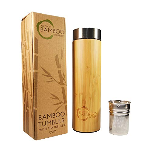 Bamboo Tumbler with Tea Infuser & Strainer | Insulated Tea Tumbler Travel Coffee Mug | 17oz Stainless Steel Water Bottle Travel Tea Thermos | Mesh Filter Tea Infuser For Loose Leaf Tea Travel Mug