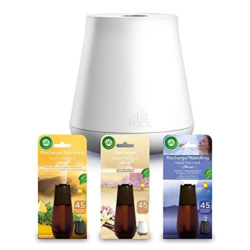 Air Wick Diffuseur d'Huiles Essentielles Essential Mist + 3 recharges Thym/Lavande/Vanille