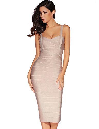 meilun Women's Rayon Strap V Neck Bandage Bodycon Mid-Calf Length Midi Cocktail Pencil Dress (Small, Beige)