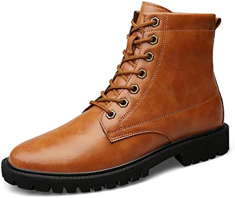 Shengjuanfeng Stiefelette für Herren Hoher Stiefel Schnürstiefel OX Leather Simple Solid Farbes Atmungsaktive Laufsohle (Farbe   Braun, Größe   48 EU)