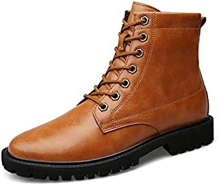 Mens Casual Dress Boots Man's High Top Ankle Boots Lace Up Style Leather Simple Solid Colors Easy Care Breathable Outsole Shoes Chukka Boot (Color : Brown, Size : 7.5 UK)