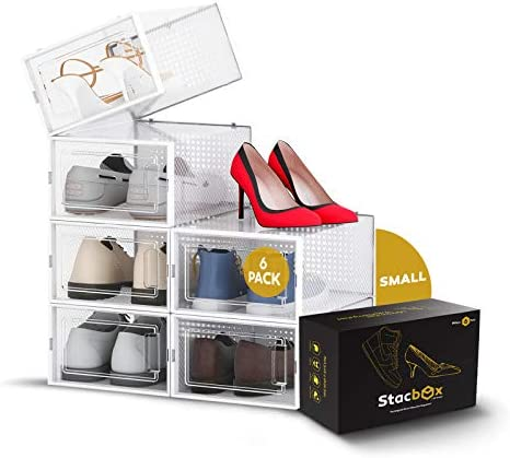 STACBOX Shoe Organizer Stackable Easy to Assemble for Closet Protects Shoes Clear Display Declutters product image
