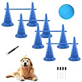 YON.SOU. Dog Agility Training Equipment, Dog Agility Set with Agility Hurdle Cone Set,Dog Obstacle Course Backyard, Dog Hurdle,8 Dog Agility Cones, 8 Agility Rods and an Extra Dog Frisbee and Whistle