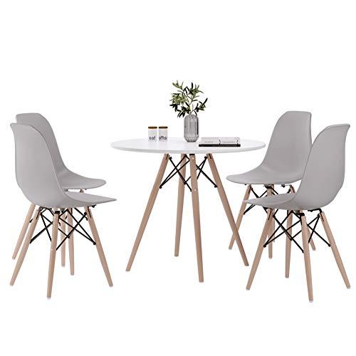 Joolihome - Juego de mesa de comedor redonda y silla, 4 unidades, mesa de cafe con patas de madera para comedor, sala de estar, cocina blanco