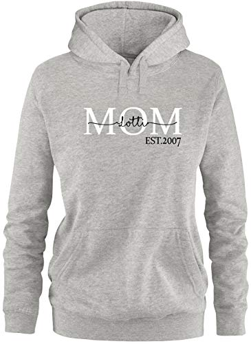 EZYshirt® Mom Pullover mit Kindernamen | personalisierbar auch als Geschenk Pullover Damen | Frauen Kapuzenpullover | Hoodie