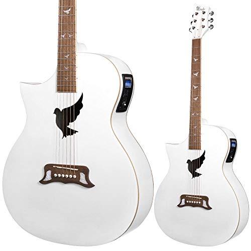 Lindo - Guitarra electroacústica para zurdos, color blanco, con preamplificador, afinador y bolsa acolchada