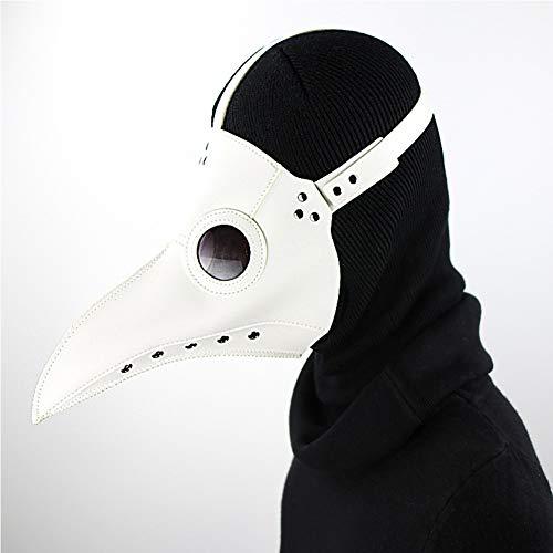 WTZWY Maske Pest-Doktor-Vogel-Maske, Leder Steampunk Lange Nase Schnabel Schwarz-Kostüm-Halloween-Maske Cosplay Partei Props,Weiß
