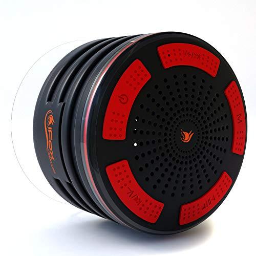 iFox iF013 - Bocina con Bluetooth para la Ducha - Impermeable - con Manos Libres y Radio FM - Compatible con iPhone, iPad, iPod y PC - Negro