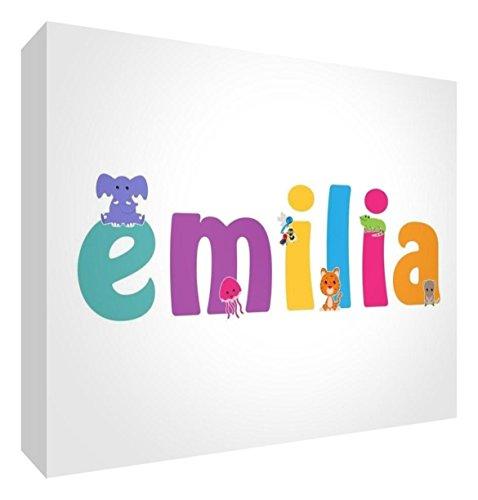 Little Helper LHV-EMILIA-A5BLK-15IT Pannello Decorativo Neonato/Battesimo Idea Regalo, Disegno Personalizzabile con Nome da Ragazza Emilia, Multicolore, 14.8 x 21 x 2 cm