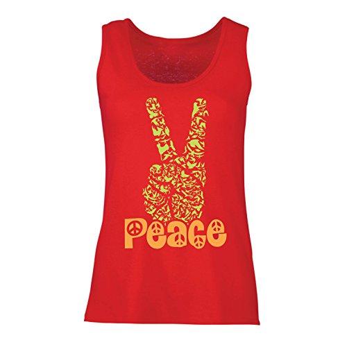 lepni.me Damen Tank-Top Hippie-Friedenstages-Symbol, 60s 70s Hippy-Partei-Zeichen, Swag Hipster (XX-Large Rot Mehrfarben)