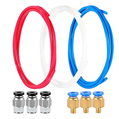 3 Pieces Teflon Tube PTFE Tube White Blue Red Tubing 1.5 Meters for 3D printer 1.75mm transfer material pipe. With3 Pieces PC4-M6 Fittings and 3 Pieces PC4-01 Fitting Connectors